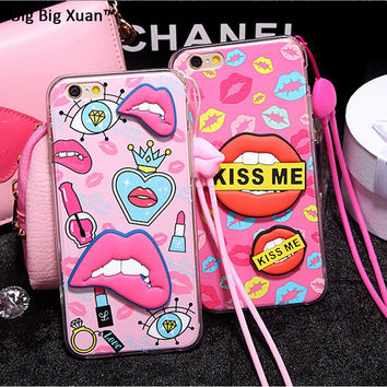 Kiss Me 3D Sexy Soft Red Lips Cases With Strap For iPhone 5 5s SE 6 6s Plus 6Plus Silicone Rubber TPU Mouth Covers Newest