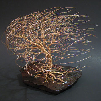 Wire Tree Sculpture of Windswept Willow