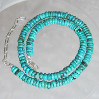 Unisex Genuine Turquoise Rondelle Beaded Necklace with Sterling Silver Clasp