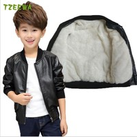 Children Boys Coat 2017 Children's Jacket Leather Fashion Boy Winter Outerwear Thick Velvet Kids Jackets Windbreakers