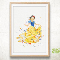 Snow White, Disney - Watercolor, Art Print, Home Wall decor, Watercolor Print, Disenyland Poster