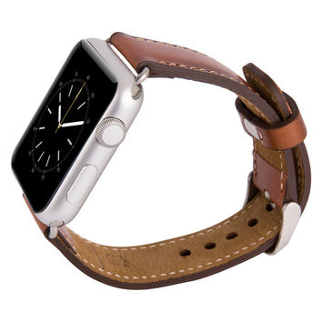Apple Watch Band Genuine Leather, Women Husband Boyfriend Unique Gift, Apple Watch Leather Band, 38mm 42mm // Burnt Tan