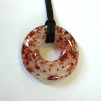 Cranberry and Cream Glass Donut, Round Necklace, Fused Glass Jewelry - Rilee - 4425 -1
