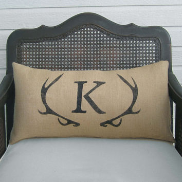 Deer Antler Monogram Burlap Pillow