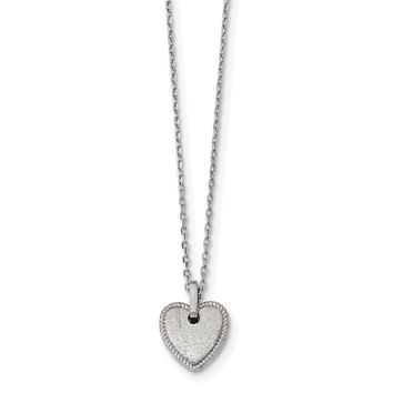 Sterling Silver Rhodium-plated Satin Puffed Heart w/2in ext. Necklace QG4372