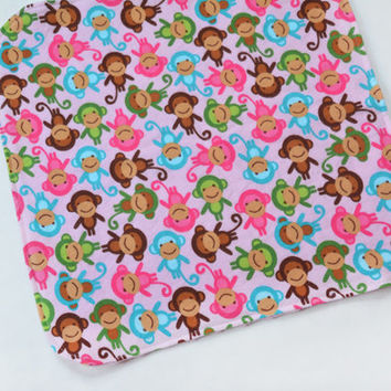 Baby Mini Blanket, Infant Lovey Security Blanket Cute Monkeys, Baby Girl Mothers Day Gift, Gender Neutral