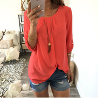 Folding Sleeve Pleated T-Shirt