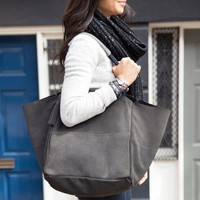 Charcoal Suede Slouchy Tote by Chloe + Isabel