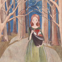 Original watercolor acrylic ink painting girl with fox forest green dress sling bag tree art