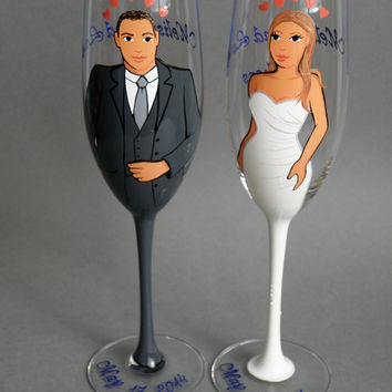 Hand painted Bridal shower party Personalized Wine or Champagne glasses Portraits With Painted Stem