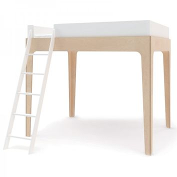 Perch Full Loft Bed in White and Birch