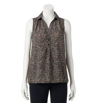 ESB7GX Dana Buchman Drop-Tail Hem Blouse - Women's Size