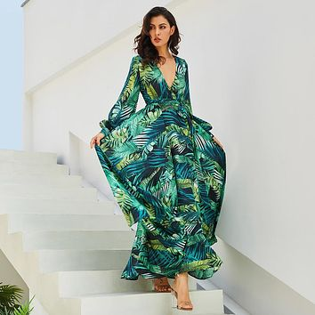 Tropical Long Sleeve Green Floral Dress
