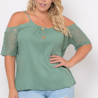 Plus Size Cold Shoulder Lace Trim Gauze Blouse  - Sage