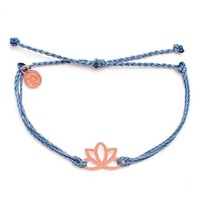 Pura Vida - Rose Gold Lotus Bracelet | Columbia Blue