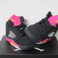 Nike Air Jordan 5 V Retro TD Toddler Black Pink Orange Sz 10 new 440890-067