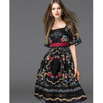 European New style 2017 Women's Square Collar Flower Print Casual A line Embroidery Summer dress Female Vestido Sundress