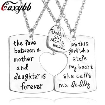 Caxybb Love Between A Mother And Her Daughter Is Forever Necklace And Pendants For Daddy's Son, Silver Mommy Daddy Old Necklace