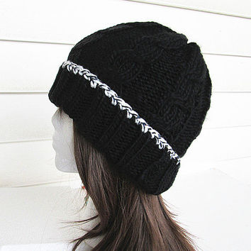 Chunky Knit Hat- Women's Hat -Black Cable Knit Hat - Chunky Knit- White trim.