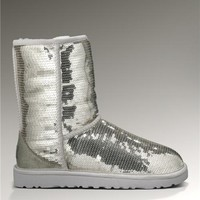 UGG Classic Short Glitter Boots 3161 Silver