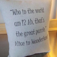 Quote Pillow Alice in Wonderland Gift Book  Cushion