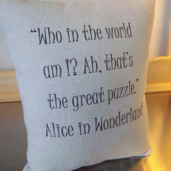Alice in Wonderland Throw Pillow Gift for Book Lover Cushion