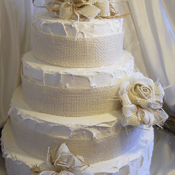 Ivory Burlap & Raffia Flower Clusters Cake Topper, set of 3 clusters and 3 yards of ivory burlap ribbon. Made to Order.