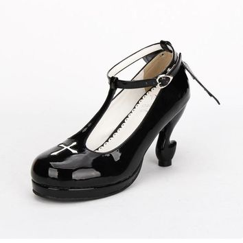 Gothic Harajuku Ankle T-Strap Heeled Shoes with Winged Backs