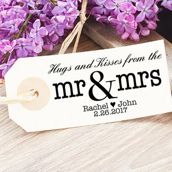 Custom Wedding Stamp - Mr and Mrs Tag - Hugs and Kisses Stamp - Hugs and Kisses From The Mr and Mrs Stamp - Modern Wedding Stamp Rubber