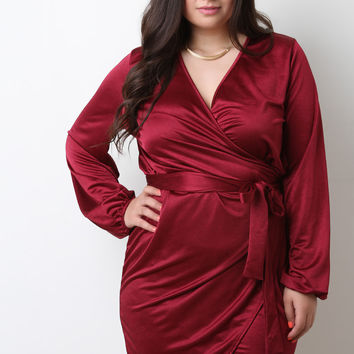 Surplice V-Neck Wrap Satin Knit Dress