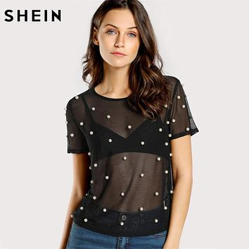 SHEIN Pearl Beading Mesh Top Sexy Womens Tops and Blouses Black Round Neck Short Sleeve Sheer Mesh Tunic Blouse