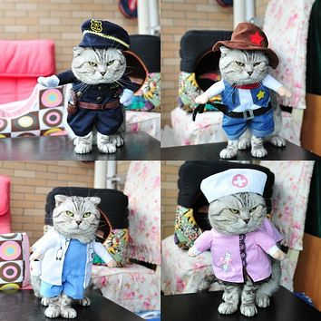 Various Funny Pet Costume Dog Cat Costume Cat Clothes   Nurse Policeman Cowboy Sailor Uniform Hat Business Attire