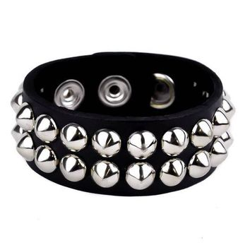 ac spbest 2-Row Silver Cone Stud Quality Leather Wristband Cuff Goth Metal