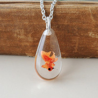 Goldfish Necklace, Whimsical Fish Swimming in Resin Pendant, Resin Jewelry, Fish Jewelry, Whimsical Jewelry