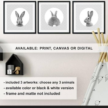 Baby Rabbit Kids room decor, Black and white Rabbit art nursery, Bunny baby wall decor, Woodland rabbit Nursery set, baby gift Print/Canvas
