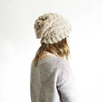 Slouchy Chunky Lace Knit Hat Beanie | THE WILLOW | Linen