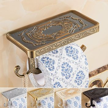 New Antique Carving Toilet Roll Paper Rack with Phone Shelf Wall Mounted Bathroom Paper Holder With hook