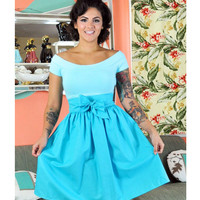 Heart of Haute Aqua Gypsy A-Line Honeycomb Skirt