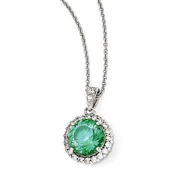 Cheryl M Sterling Silver Simulated Paraiba Tourmaline and CZ Halo Necklace
