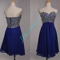 Gerous Dark Royal Blue Short Beaded Prom Dresses,Sweetheart Party Grown Homecoming Dresses,Bridesmaid Dresses