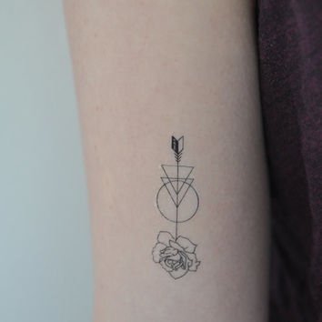 Rose Arrow Temporary Tattoo, Modern Illustration, Small Temporary Tattoo, Mother's Day Gift, Gift Idea, Fashion Accessories, Festival Wear