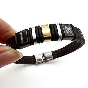CREYNW6 LV Louis Vuitton Trending Unisex Casual Stainless Steel Leather Bracelet With Leather Bracelet Laser Engraving Bracelet
