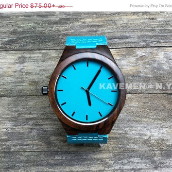 SALE Personlized Watch. Watches. Engrave Watch. Personalized Watch. Montre Bois, Montre En Bois Gravé. Wood Watch. Kavemen. Blue Ocean