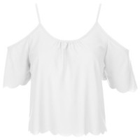 Scallop Bardot Top - White