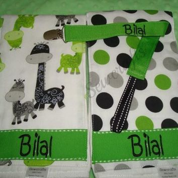 Personalized Burp Cloths and a Universal Pacifier Clip with Name