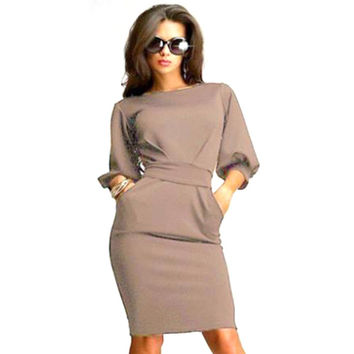 Hot Selling Bodycon Dress Summer Women Dresses Simple Round Collar Vestidos Lantern Sleeve Bowknot Knee Length Solid Midi Dress