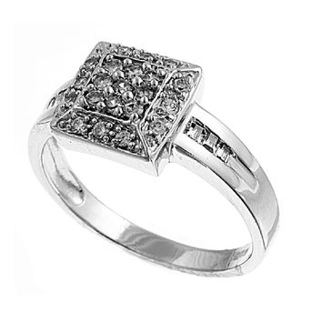 925 Sterling Silver CZ Square Cluster Center Pave Ring 9MM