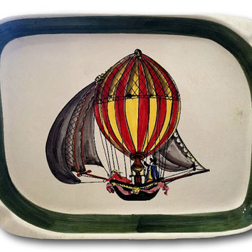Whimsical Green Hot Air Balloon Pirate Ship Vintage Plate Italy - Hanger Included