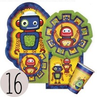 Robots - Party Tableware Plates, Cups, Napkins - Bundle for 16