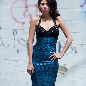 Mermaid Tail Pencil Skirt - Shimmery Hologram Scales- High Waist - Custom Made To Order